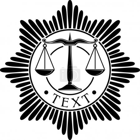 Illustration for Scales of justice symbol (scales of justice seal, scales of justice order, scales of justice medal) - Royalty Free Image