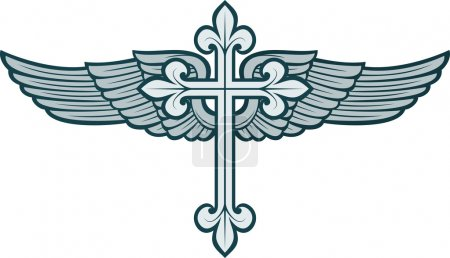 Vector illustration of christian cross and wing