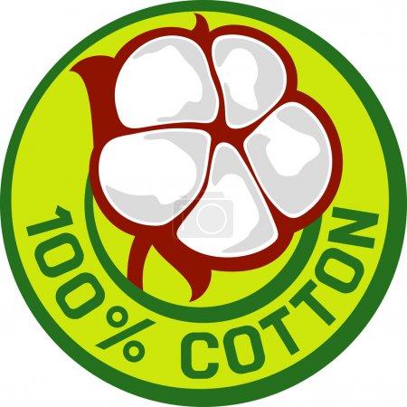 Illustration for 100 percent cotton symbol (badge, stamp, sign, rubber stamp) - Royalty Free Image