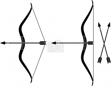Illustration for Bow and arrow (bow weapon with arrow) - Royalty Free Image