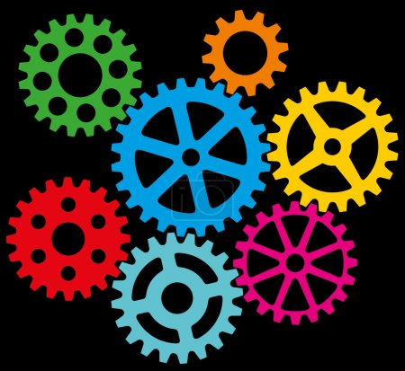 Illustration for Growing gears (cogs in process) - Royalty Free Image