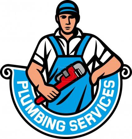 Illustration pour Plombier tenant une clé - services de plomberie (plombier tenant une clé à singe, plombier, étiquette de plomberie de réparation ) - image libre de droit