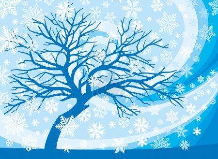 Illustration pour Arbre d'hiver et flocons de neige - image libre de droit
