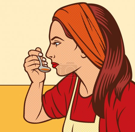 Illustration for Woman in the kitchen pop art illustration - Royalty Free Image