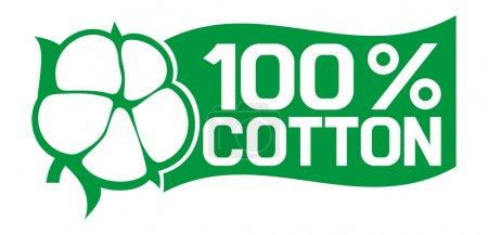 Illustration for 100 percent cotton symbol - Royalty Free Image
