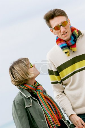 young couple portrait, isolated