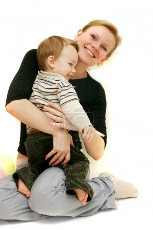 Photo for Mother and son over white - Royalty Free Image
