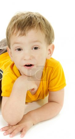 cute toddler boy over white