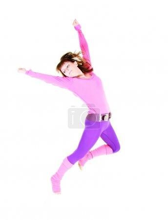 modern style dancing girl over white