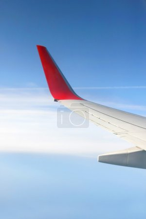 plane wing on sky background