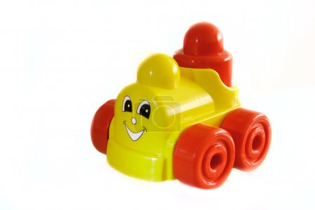 happy toy train over white