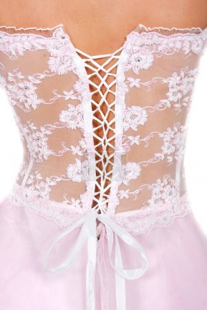 bridal corset over white