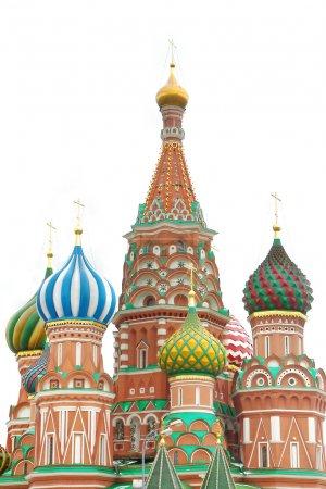 Photo pour Cathédrale St basilic sur blanc, moscou, russie - image libre de droit