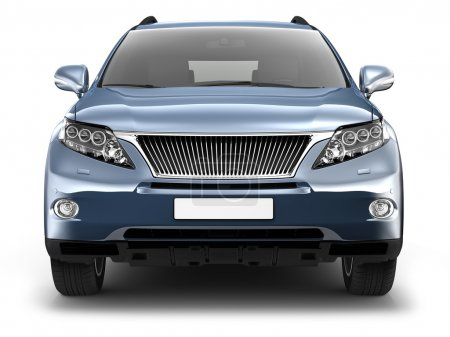 Front view of blue suv car