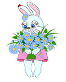 Cartoon bunny with a big bouquet of flowers daisies with isolation on a white background