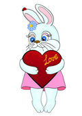 Cute white bunny holding in the paws of the heart Postcard to the Valentine's Day and Mother's Day