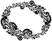 Black and white lace flowers and leaves isolated on white Floral design element in retro style