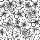 Beautiful black and white seamless background with branches of flowering trees and butterflies