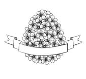 beautiful monochrome black and white Easter greeting card with flowers graphics in the form of eggs with ribbon labeling