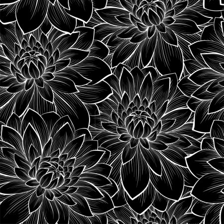 Illustration for Beautiful seamless background with monochrome black and white flowers.  Hand-drawn contour lines and strokes. Perfect for background greeting cards and invitations to the day of the wedding, birthday and Valentine's Day - Royalty Free Image