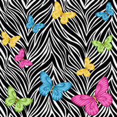 Seamless background butterflies on animal zebra abstract print