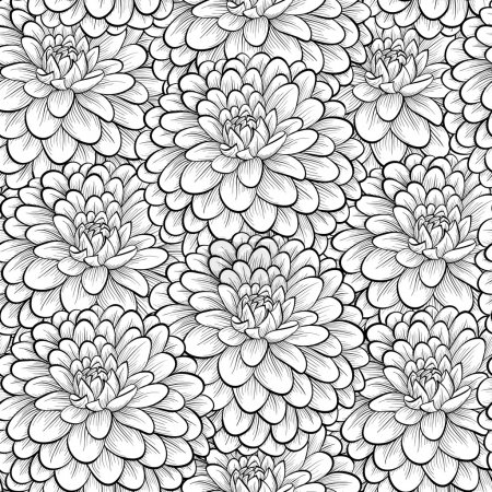 Illustration for Beautiful seamless background with monochrome black and white flowers. Hand-drawn contour lines and strokes. . Perfect for greeting cards and invitations of the wedding, birthday, mother's Day - Royalty Free Image