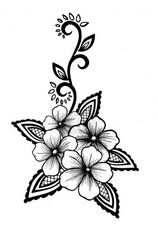 Illustration for Beautiful floral element. Black-and-white flowers and leaves design element. Floral design element in retro style. - Royalty Free Image