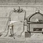 Old schematic illustration of laboratory apparatus...