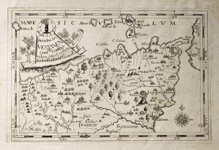 Photo pour Ancienne carte de Capucins province de Messine, Sicile. la carte peut être datée de la XVIIème s. - image libre de droit