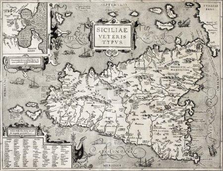 Сицилийская карта с деталями Сиракуз