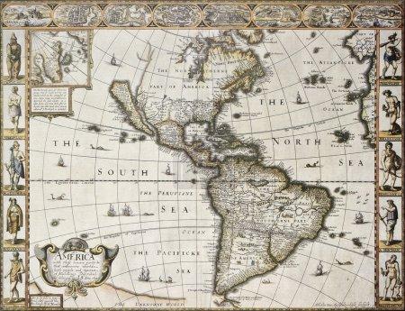 Photo pour Amérique vieille carte avec carte du Groenland insérer. Créé par John Speed. Publié dans Londres, 1627 - image libre de droit