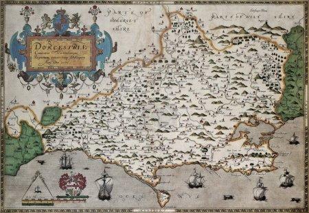 Photo pour Dorset vieille carte, Atlas de l'Angleterre et au pays de Galles. créé par christopher saxton, publié à Londres, 1579 - image libre de droit