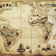 Antique world planisphere portolan map of Spanish and Portuguese maritime and colonial empire Created by Antonio Sanches, published in Portugal, 1623