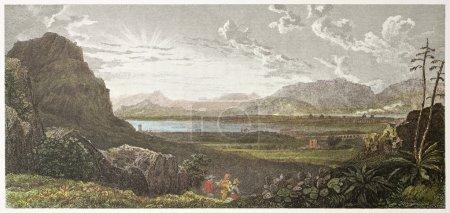 Photo pour Golfe de Palerme, ancienne vue de favorita jardins créés par de wint et heath, imprimé par mcqueen, publ à Londres, 1821 ed sur le paysage sicilien, rodwell et martins de Londres, 1823 - image libre de droit