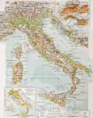 Old physical map of Italy. By Paul Vidal de Lablac
