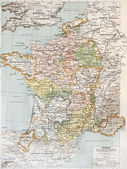 Medieval France old map (10th - 14th century). By