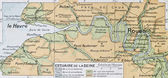 Mouth of Seine river old map. By Paul Vidal de Lab