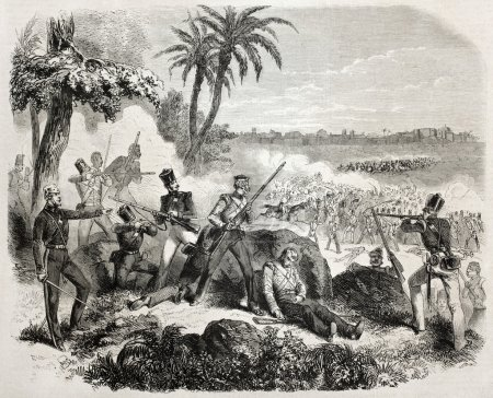 Old illustration of British soldiers defending aga...