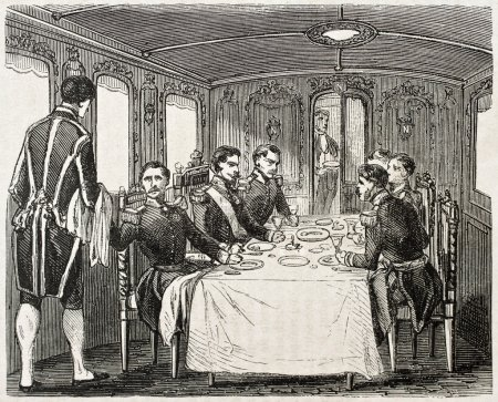 Photo for Old illustration of dining coach in the imperial train offered from railways company to Napoleon III. Created by Gaildrau, published on L'Illustration Journal Universel, Paris, 1857 - Royalty Free Image