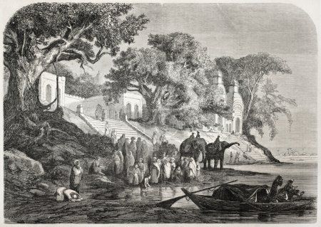 Old illustration of traditional Ganges ablutions i...