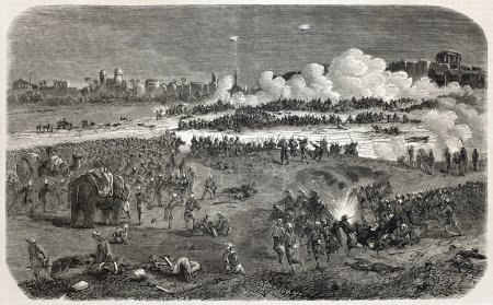 Old illustration of battle between British army an...