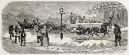 Photo pour Ancienne illustration de deux traîneaux à broadway, new york. créé par l'emploi, publié sur l'illustration journal universel, paris, 1857 - image libre de droit