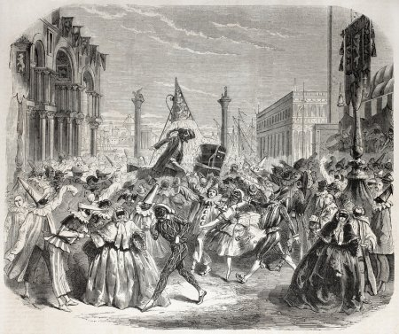 Old Illustration of Carnival in Venice