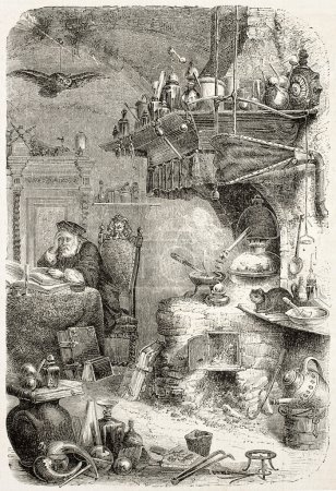 Photo pour Illustration ancienne du laboratoire d'alchimie. Auteur non identifié, publié sur L'Illustration, Journal Universel, Paris, 1858 - image libre de droit
