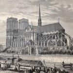 Antique engraved illustration of Notre Dame de Par...