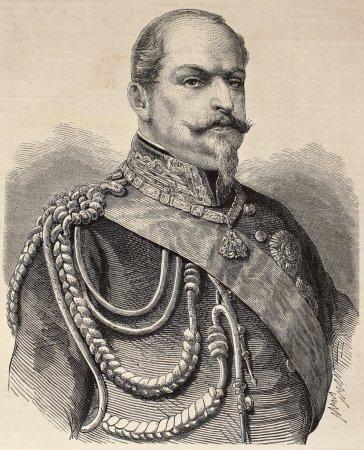 Photo pour Ancien portrait gravé du prince Eugène de Savoie-Carignan. original, du dessin de marc, a été publiée sur l'illustration, journal universel, paris, 1860 - image libre de droit