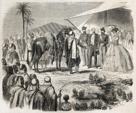Photo pour Napoléon iii et l'impératrice Eugénie recevant des chevaux de gaada en cadeau par des tribus algériennes. créé par janet-lange, après marc, publié sur l'illustration, journal universel, paris, 1860 - image libre de droit
