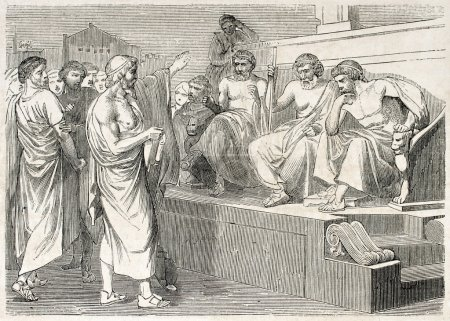 Photo for Sophocles accused by his sons, old illustration. Created by Michel, published on L'Illustration, Journal Universel, Paris, 1860 - Royalty Free Image