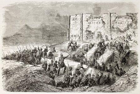 Foto de Intervención de México en Francia: asalto a la cárcel de puebla por soldados del ejército francés. creado por gaildrau, publicado en l ' Illustration, París, 1863 - Imagen libre de derechos