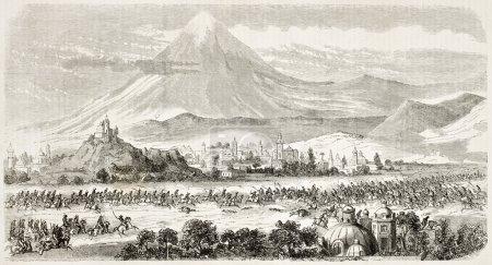 Foto de Cholula batalla vieja ilustración (intervención francesa en México). creado por godefroy-durand, publicado en l ' Illustration, journal universel, París, 1863 - Imagen libre de derechos